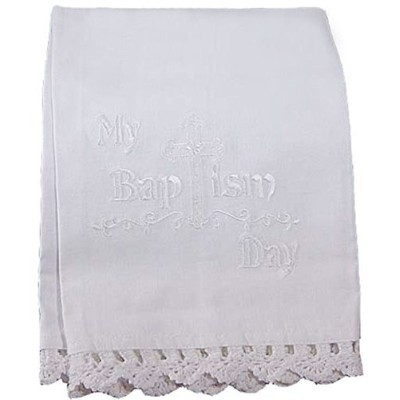 100% White Cotton Christening Towel Baptism Towel with Lace by Little Things Mean A Lot