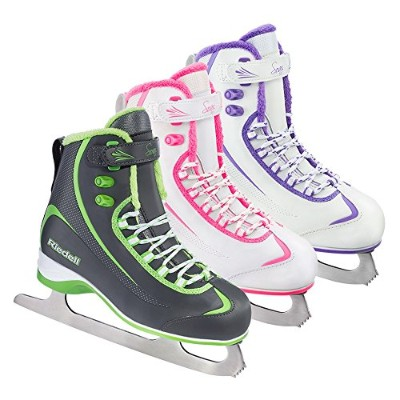 (Size 7, White and Violet) - Riedell 625 Soar / Women's and Men's Beginner/Soft Figure Ice Skates /...