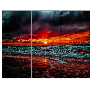 "DesignArt pt13352 – 20 – 12 "" Red Sunset Over Blue Waters ""シースケープキャンバスアート印刷、Mini 36x28"" - 3 Panels..."