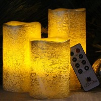 Flameless Candles by Led Lytes、3のセットアイボリーワックス、ちらつきLEDキャンドルwith auto-offリモートコントロール LLR3