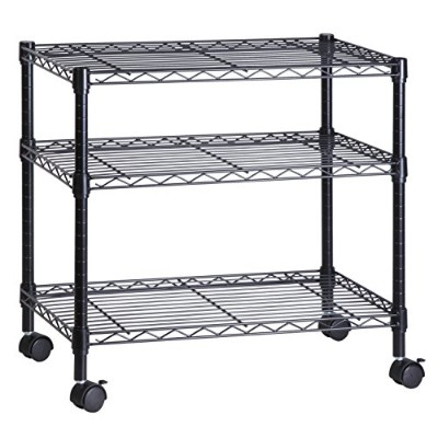 Honey-Can-Do CRT-04050 3-Shelf Rolling Media Cart with Locking Wheels, Steel Construction by Honey...
