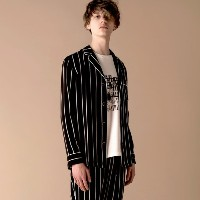 SALE【GUILD PRIME ギルドプライム】 【Education from Youngmachines】MENS ストライプパジャマシャツ ブラック メンズ