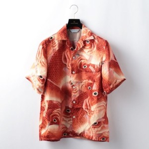 SALE ギルドプライム(GUILD PRIME) 【NIPOALOHA】MENS SHORT SLEEVE ALOHA SHIRT THE HUNDRED RED SNAPPER 鯛づくし文様 M...