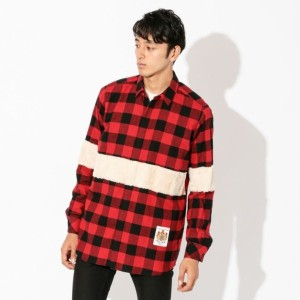 SALE【GUILD PRIME ギルドプライム】 【Education from Youngmachines】MENS ファーコンビチェックシャツ レッド メンズ