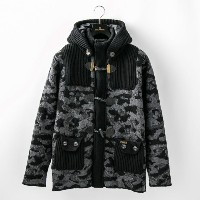 【GUILD PRIME ギルドプライム】 【Bark】MENS CAMOUFLAGE WOOL SHORT DUFFLE COAT WITH NYLON/474-52001001 ブラック メンズ