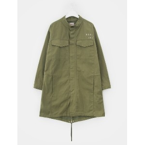8SECONDS Lettering Embroidery Cotton Flannel Long Jacket - Khaki