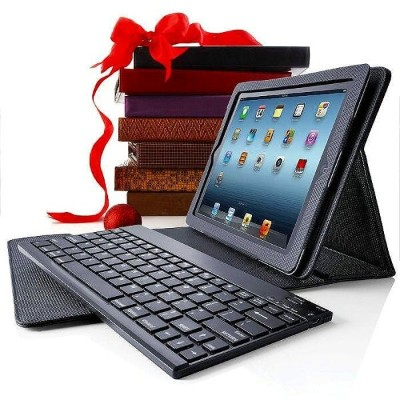 ブルートゥース キーボード マットブラックBluetooth Keyboard Pro with Leather Case for iPad (3rd generation) and iPad 2...