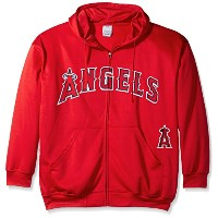 MLB Los Angeles AngelsメンズFull Zip Poly Fleece with Wordmark Chest withロゴnearポケット、2x /高、レッド