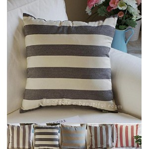 TangDepot Decorative Handmade Striped Cotton Throw Pillow Covers /Pillow Shams, 5 Color and 10 Size...