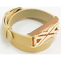 BSI Long Beige Leather Replacement Bracelet With Unique Style X Design Rose Gold Metal Jewelry...