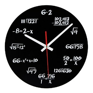 Roi1985 数学 掛け時計 Novelty Art Maths Equation Wall Clock for Home Decoration