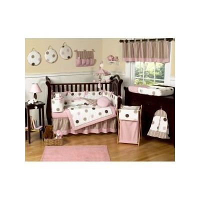 Pink and Brown Modern Polka Dots Queen Kids Childrens Bed Skirt by Sweet Jojo Designs