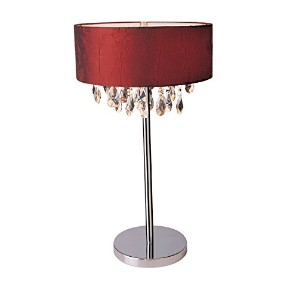 Elegant Designs LT1023-RED Romazzino Crystal and Chrome Table Lamp with Ruched Fabric Drum Shade,...