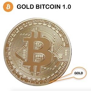 .999 Fine Gold Bitcoin Commemorative Round Collectors Coin - Bit Coin is Gold Plated Copper...