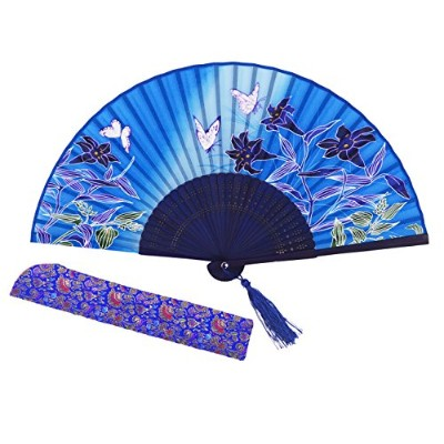 (Blue) - Amajiji Chinese Style Butterfly Flowers Pattern Lace Bamboo Handheld Folding Fans for...