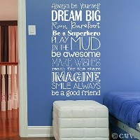 Boy version Kid Rules subway art vinyl lettering wall saying decal quote sticker nursery child room...