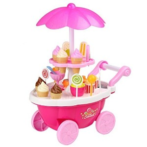 【Cosway Baby Kids Learning Toys Pretend Playセットケーキアイスクリーム食品カートSweet Candyトロリーwith音楽とライト】
