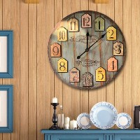 LOVE(TM)12-inch Wooden Clock,London Shabby Chic Style Wall Clock Kitchen Livingroom Bedroom Bar...