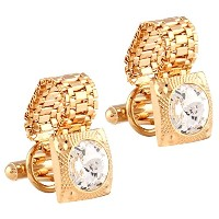 TripinメンズGolden Cufflinks With Chain In aギフトボックス
