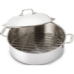 All-Clad 4515 Stainless Steel 3-Ply Bonded Dishwasher Safe French Braiser with Rack Cookware, 6...