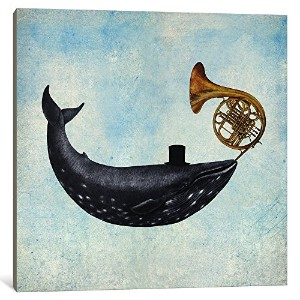 iCanvasART 1ピースWhale Songブルー正方形キャンバスプリントby Terry Fan 37 x 37 x 0.75-Inch TFN229-1PC3-37x37