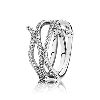 PANDORA Ringsパンドラリングスネークキュービックジルコニア巻線女性永遠結婚記念日-Snake Silver Ring with Cubic Zirconia 190954CZ 56