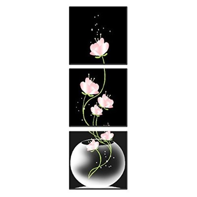 (12 30cm 3pcs) - Natural art -Vase with Flower Wall Painting Canvas Prints Home Decoration Wooden...