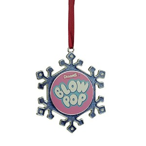 【3.5 Silver Plated Snowflake Blow Pop Candy Logo Christmas Ornament with European Crystals】