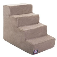 【4 Step Stone Tan Suede Pet Stairs By Majestic Pet Products In Neutral Tone by Majestic Pet】...