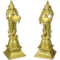 Brass Metal Oil Lamp Diya Lady With Standing Statue Pair Fine Finishing Work by Bharat Haat BH00702