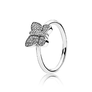 PANDORA Ringsパンドラリングバタフライ女性永遠結婚記念日-Butterfly Silver Ring with Cubic Zirconia (18.5)