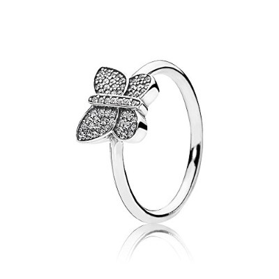 PANDORA Ringsパンドラリングバタフライ女性永遠結婚記念日-Butterfly Silver Ring with Cubic Zirconia 190938CZ 56