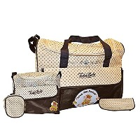 Todd Baby 5pc Brown Diaper Nappy Changing Shoulder Bottle Food Bag Holder Set New by Todd Baby
