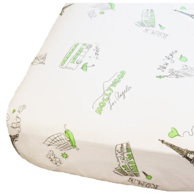 Oliver B City of Dreams Crib Sheet - Mint/Grey/White by Oliver B