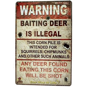 "OchoiceメタルSignsレトロRoad Signs with Baiting Deer Is Illegal Sign 8 "" x12 "" ( Warning Sign ) B012IETRNQ"