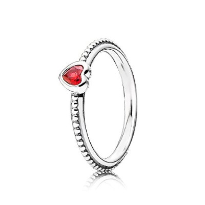 PANDORA Ringsパンドラリングゴールデンレッド合成ルビーのハートシルバーリング女性な結婚指輪-One Love Ring, Scarlet Synthetic Ruby