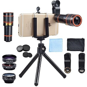 Apexel 4 in 1 12x Zoom Telephoto Lens + Fisheye + Wide Angle + Macro Lens with Phone Holder +...