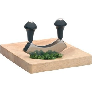 Double Bladed Mezzaluna / Hachoir / Herb Chopper with Board by Kitchen Craft [並行輸入品]