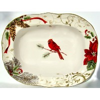 "222 Fifth Holiday Wishes Oval Serving / Vegetable Bowl – 11 1 / 4 "" x 8 1 / 2 """