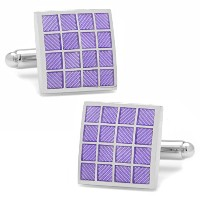 Ox and Bull Trading Co。パープルChecker Square Cufflinks