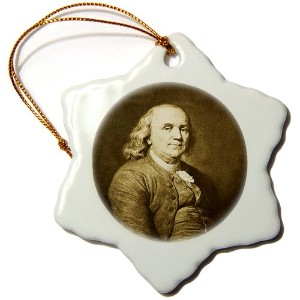 3drose Scenes from the Past Classics–Benjamin Franklinセピア–Ornaments 3 inch Snowflake Porcelain...