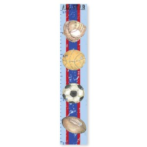 The Kids Room by Stupell Multi-Sport Blue and Red Striped Growth Chart by The Kids Room by Stupell