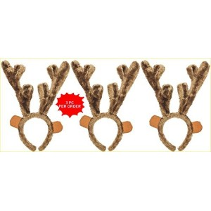 Plush Christmas Reindeer Antlers–GreatクリスマスPhoto Props 。 3 PACK ブラウン 9180044