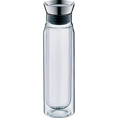 Alfi 0.75 L Double Wall Clear Glass Carafe Pitcher Water Filter, Metallic
