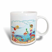 3drose Dooniデザイン花柄と性質Designs–Cute Kids Summer Vacation Funシュノーケリングin the Ocean Summertime...