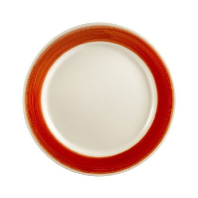 CAC China R-7-RED Rainbow Rolled Edge 18cm Red Stoneware Round Plate, Box of 36