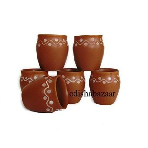 Odishabazaar Kulhar Kulhadカップ伝統的インドChai Tea Cup Set of 6 Tea Mug Coffee Mug