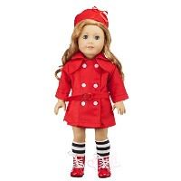 Doll Clothing Set for American Girl And Other 18 Inch Dolls - 3 Piece Outfit - Red Trench Coat and...