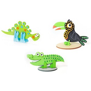 Foamies 3d Foam Activityアセンブリキット–恐竜、Aligator、Toucan–3Assorted Styles ( DIY Toy Jigsaw Puzzle )