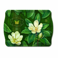 "メラミンPlastic Serving Tray Magnolia Large 18 "" x 12.5 """